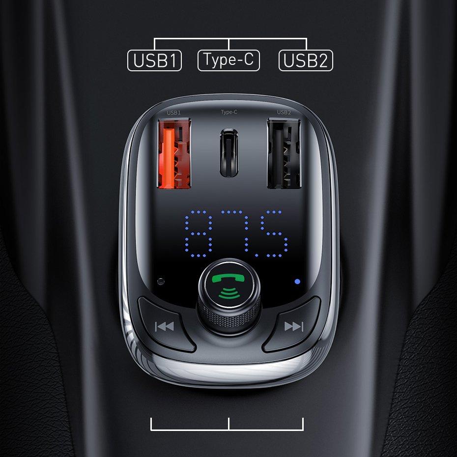 FM-модулятор Bluetooth 5.0 с АЗУ Baseus CCTM-B01