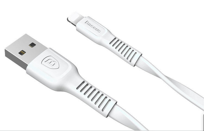 Кабель USB Lightning для Apple Baseus CALZY-B02 плоский 2A 1 метр белый